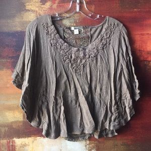Decree, S/CH Flowy Brown Blouse with lace details